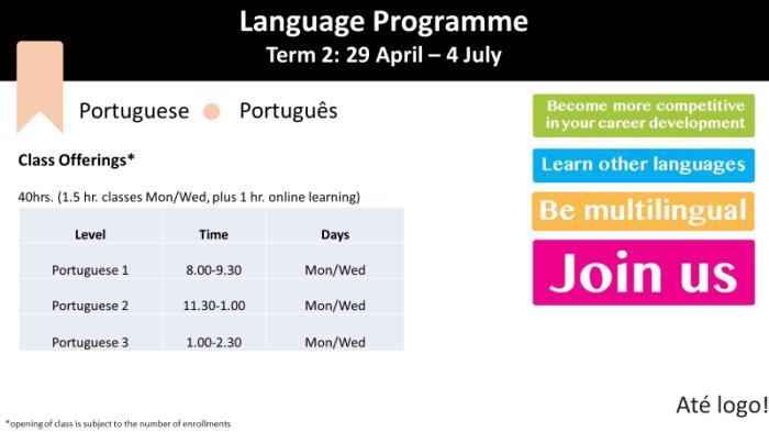 Portuguese Schedule