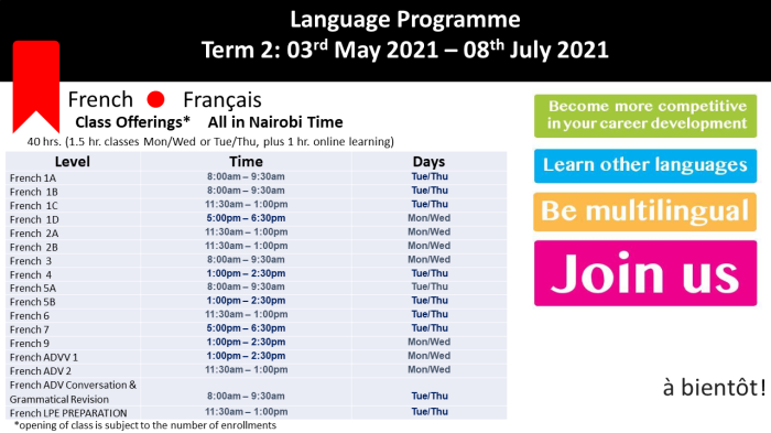 French schedule