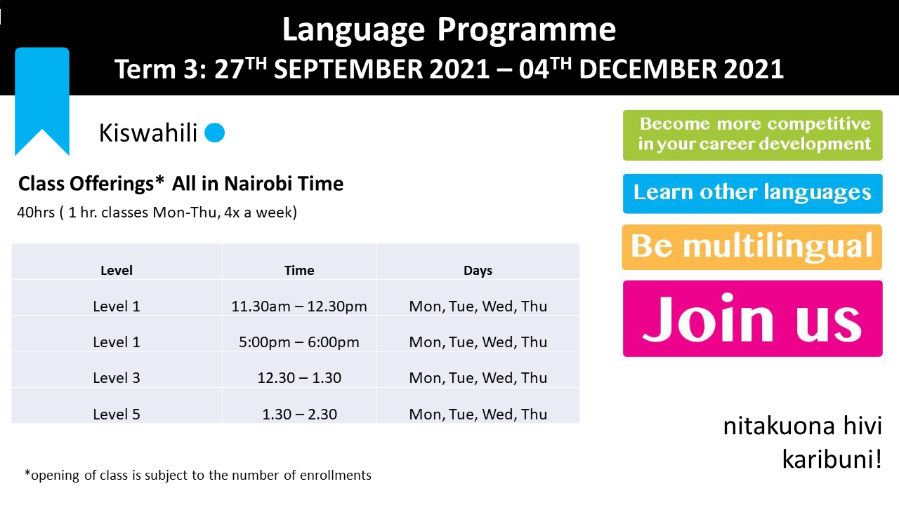Kiswahili schedule